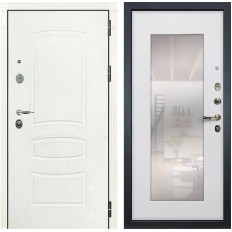 Входная дверь Лекс Легион 3К с Зеркалом Шагрень белая / Ясень белый (панель №37)
