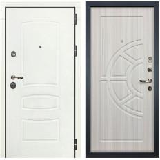 Входная дверь Лекс Сенатор 3К Шагрень белая / Сандал белый (панель №44)
