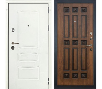 Входная металлическая дверь Лекс Сенатор 3К Шагрень белая / Голден патина черная (панель №33)