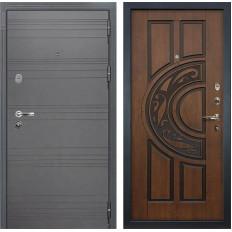 Входная дверь Лекс Легион 3К Софт графит / Голден патина черная (панель №27)