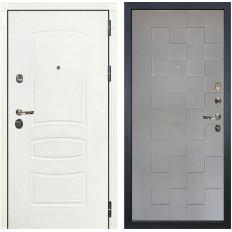 Входная дверь Лекс Сенатор 3К Шагрень белая / Графит софт Квадро (панель №72)