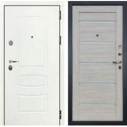 Входная стальная дверь Лекс Легион 3К Шагрень белая / Клеопатра-2 Ясень кремовый (панель №66)