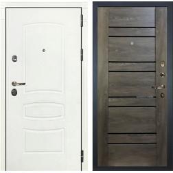 Входная металлическая дверь Лекс Сенатор 3К Шагрень белая / Терра Графит шале (панель №64)