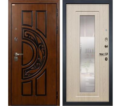 Входная стальная дверь Лекс Спартак Cisa с Зеркалом Дуб беленый (панель №23)