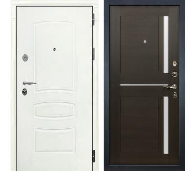 Входная стальная дверь Лекс Легион 3К Шагрень белая / Баджио Венге (панель №50)