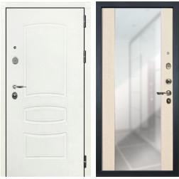 Входная дверь Лекс Легион 3К Стиль с Зеркалом Шагрень белая / Дуб беленый (панель №45)