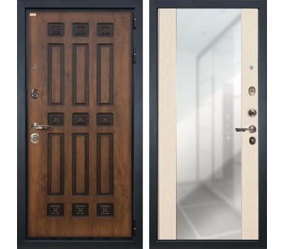 Входная металлическая дверь Лекс Гладиатор 3К Винорит Стиль с Зеркалом Дуб беленый (панель №45)