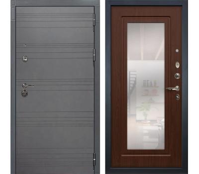 Входная металлическая дверь Лекс Сенатор 3К Софт графит / Береза мореная с Зеркалом (панель №30)