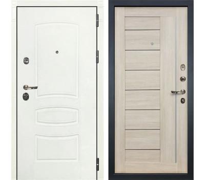 Входная металлическая дверь Лекс Сенатор 3К Шагрень белая / Верджиния Ясень кремовый (панель №40)