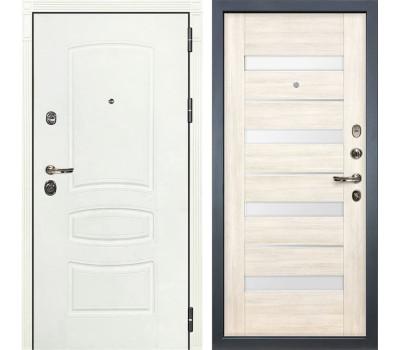 Входная металлическая дверь Лекс Сенатор 3К Шагрень белая / Сицилио Дуб беленый (панель №46)
