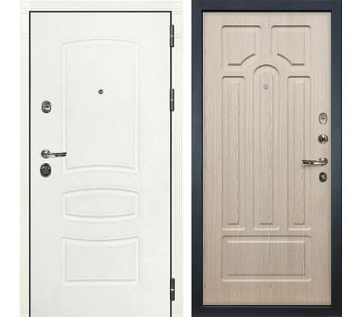 Входная металлическая дверь Лекс Сенатор 3К Шагрень белая / Дуб беленый (панель №25)