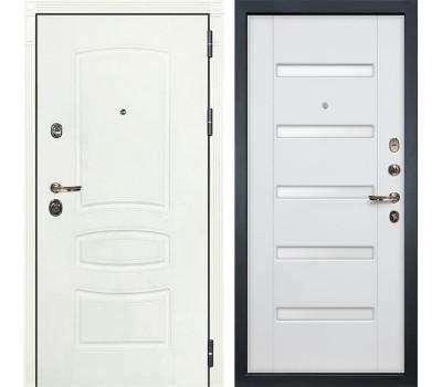 Входная металлическая дверь Лекс Сенатор 3К Шагрень белая / Ясень белый (панель №34)