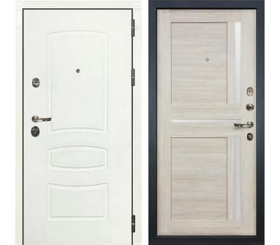 Входная металлическая дверь Лекс Сенатор 3К Шагрень белая / Баджио Ясень кремовый (панель №49)