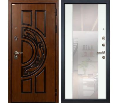 Входная стальная дверь Лекс Спартак Cisa Стиль с Зеркалом Ясень белый (панель №61)