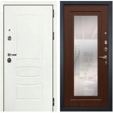 Входная дверь Лекс Сенатор 3К Шагрень белая / Береза мореная с Зеркалом (панель №30)