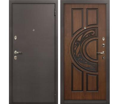 Входная стальная дверь Лекс 1А Винорит Голден патина черная (панель №27)
