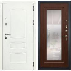 Входная дверь Лекс Легион 3К с Зеркалом Шагрень белая / Береза мореная (панель №30)