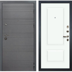 Входная дверь Лекс Сенатор 3К Софт графит / Эмаль Белая Вероника-1 (панель №55)