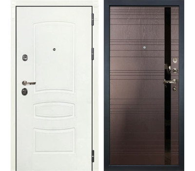 Входная металлическая дверь Лекс Сенатор 3К Шагрень белая / Ясень шоколад (панель №31)