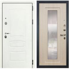 Входная дверь Лекс Легион 3К с Зеркалом Шагрень белая / Дуб беленый (панель №23)