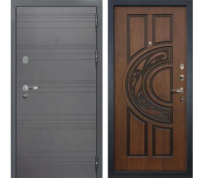 Входная стальная дверь Лекс Легион 3К Софт графит / Голден патина черная (панель №27)