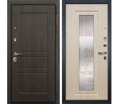Входная стальная дверь Лекс Сенатор Винорит с Зеркалом Дуб беленый (панель №23)