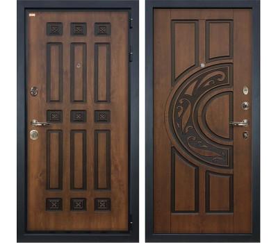 Входная металлическая дверь Лекс Гладиатор 3К Винорит Голден патина черная (панель №27)
