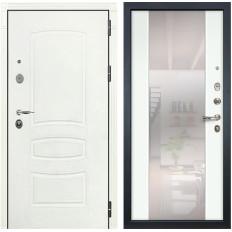 Входная дверь Лекс Легион 3К Стиль с Зеркалом Шагрень белая / Ясень белый (панель №61)