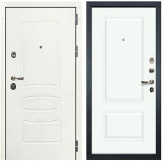 Входная дверь Лекс Сенатор 3К Шагрень белая / Эмаль Белая Вероника-1 (панель №55)