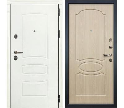 Входная металлическая дверь Лекс Сенатор 3К Шагрень белая / Дуб беленый (панель №14)