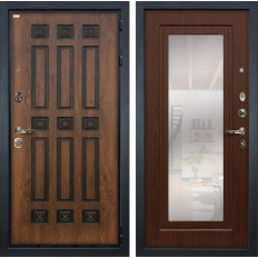 Входная дверь Лекс Гладиатор 3К Винорит с Зеркалом Береза мореная (панель №30)