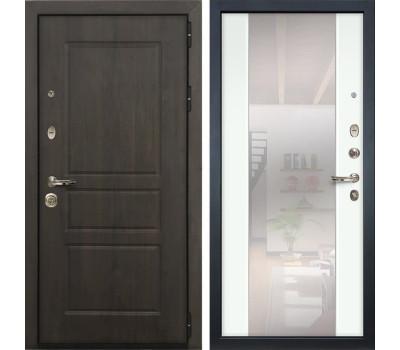 Входная стальная дверь Лекс Сенатор Винорит Стиль с Зеркалом Ясень белый (панель №61)