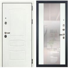 Входная дверь Лекс Сенатор 3К Шагрень белая / Ясень белый Стиль с зеркалом (панель №61)