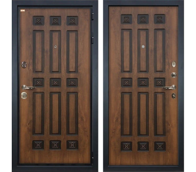 Входная металлическая дверь Лекс Гладиатор 3К Винорит Голден патина черная (панель №33)
