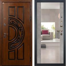 Входная дверь Лекс Спартак Cisa Стиль с Зеркалом Бетон серый (панель №102)