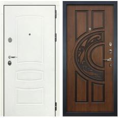 Входная дверь Лекс Легион 3К Шагрень белая / Голден патина черная (панель №27)