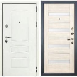 Входная стальная дверь Лекс Легион 3К Шагрень белая / Сицилио Дуб беленый (панель №46)