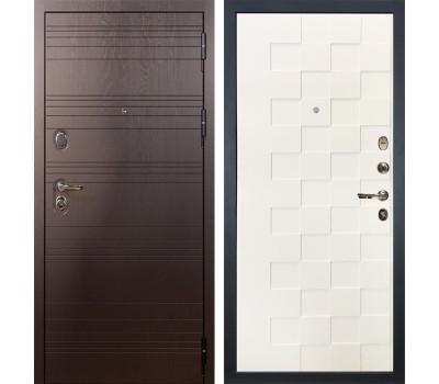 Входная стальная дверь Лекс Легион Белая шагрень Квадро (панель №71)