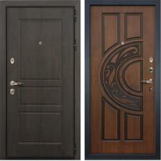 Входная дверь Лекс Сенатор Винорит Голден патина черная (панель №27)