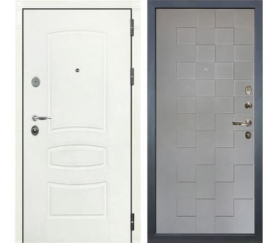 Входная стальная дверь Лекс Легион 3К Шагрень белая / Графит софт Квадро (панель №72)