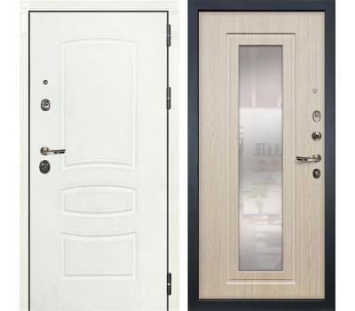 Входная металлическая дверь Лекс Сенатор 3К Шагрень белая / Дуб беленый с Зеркалом (панель №23)
