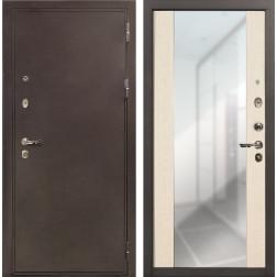 Входная стальная дверь Лекс 5А Цезарь Стиль с Зеркалом Дуб беленый (панель №45)