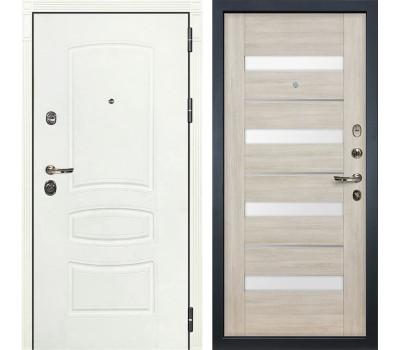 Входная металлическая дверь Лекс Сенатор 3К Шагрень белая / Сицилио Ясень кремовый (панель №48)