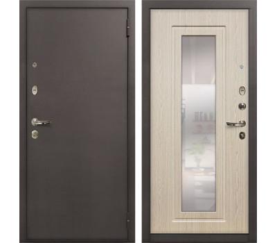 Входная стальная дверь Лекс 1А с Зеркалом Дуб беленый (панель №23)