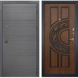 Входная дверь Лекс Сенатор 3К Софт графит / Голден патина черная (панель №27)
