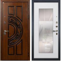 Входная дверь Лекс Спартак Cisa с Зеркалом Ясень белый (панель №37)