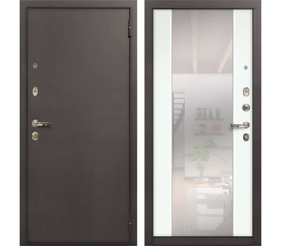 Входная стальная дверь Лекс 1А Стиль с Зеркалом Ясень белый (панель №61)