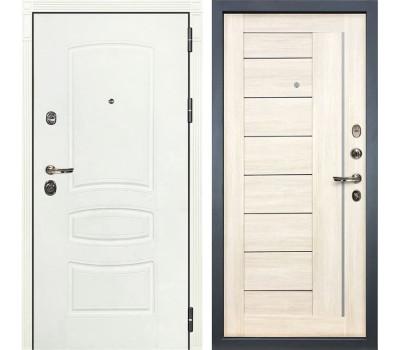 Входная металлическая дверь Лекс Сенатор 3К Шагрень белая / Верджиния Дуб беленый (панель №38)