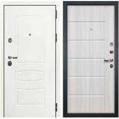 Входная дверь Лекс Сенатор 3К Шагрень белая / Сандал белый (панель №42)