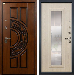Входная дверь Лекс Спартак Cisa с Зеркалом Дуб беленый (панель №23)